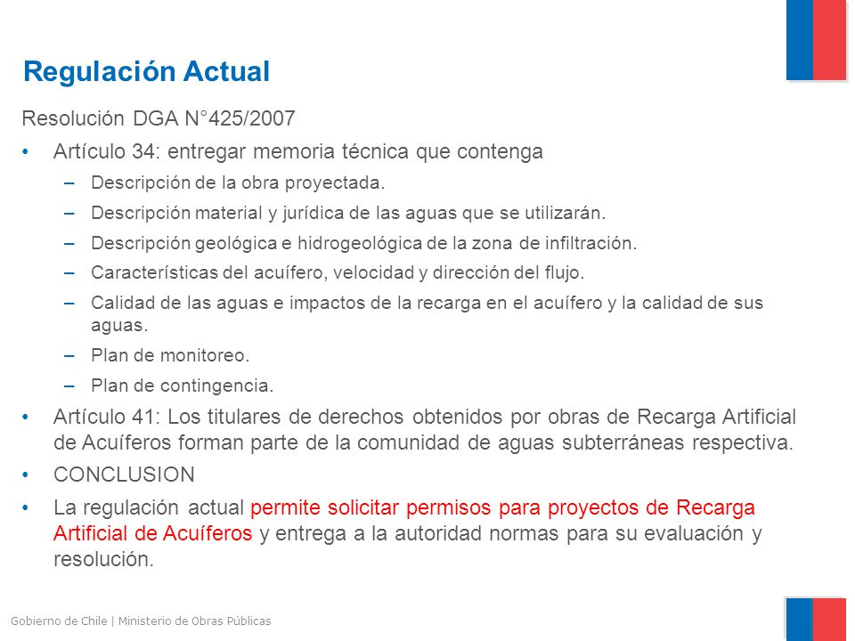 Regulación Actual Resolución DGA N°425/2007