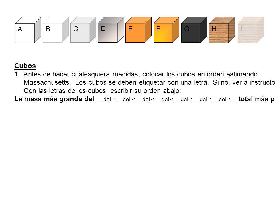 A B. C. D. E. F. G. H. I. Cubos. 1. Antes de hacer cualesquiera medidas, colocar los cubos en orden estimando.