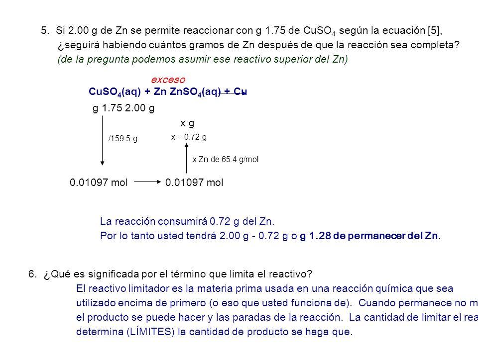 (de la pregunta podemos asumir ese reactivo superior del Zn)