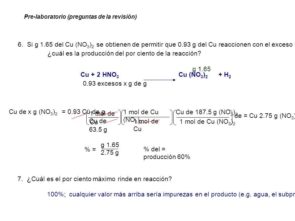 ¿cuál es la producción del por ciento de la reacción