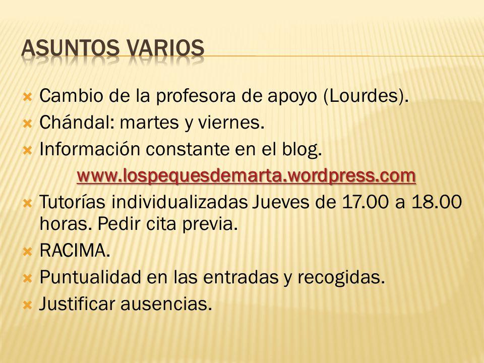 Asuntos varios Cambio de la profesora de apoyo (Lourdes).