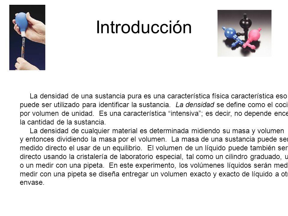 Introducción La densidad de una sustancia pura es una característica física característica eso.