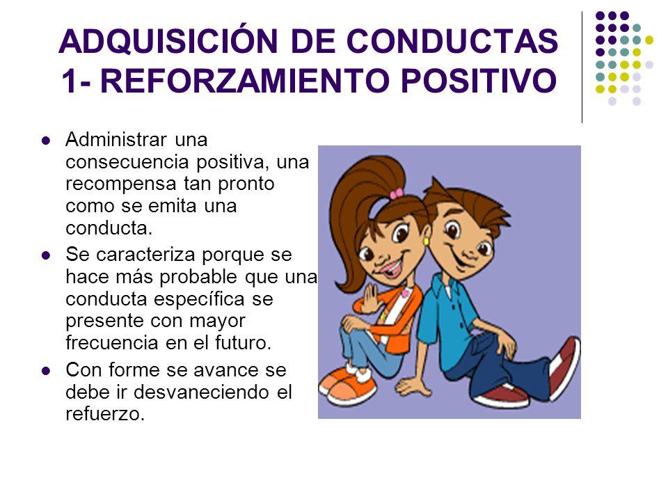 ADQUISICIÓN DE CONDUCTAS 1- REFORZAMIENTO POSITIVO