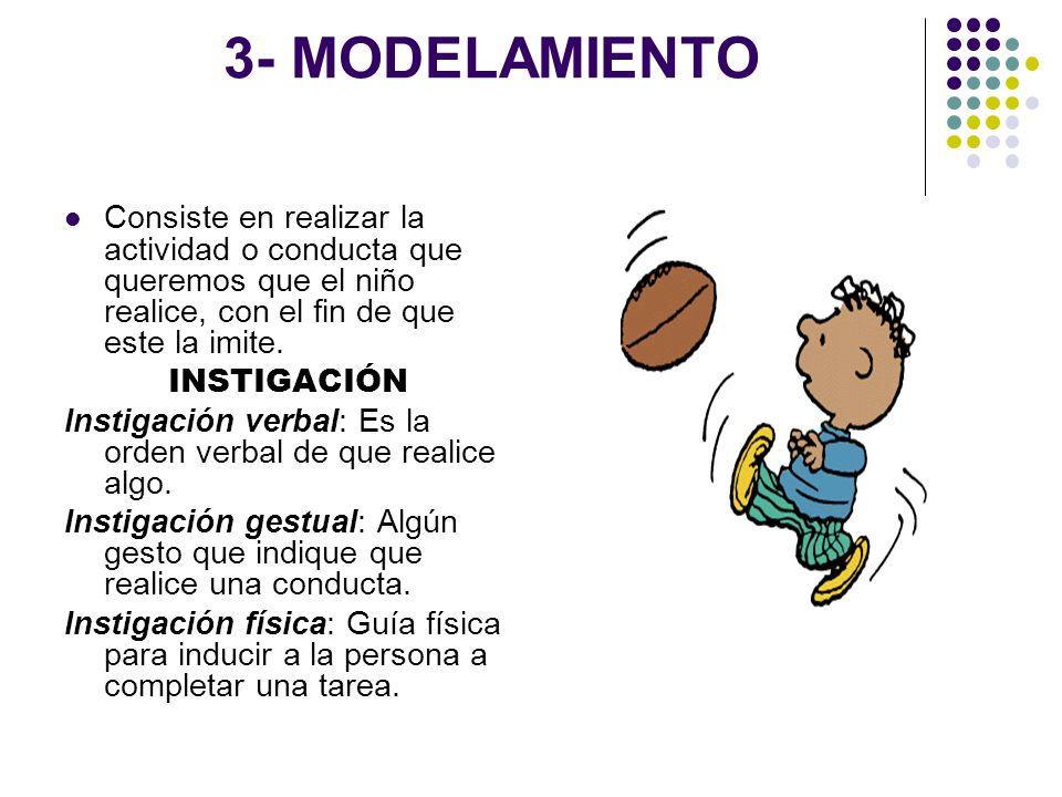3- MODELAMIENTO Consiste en realizar la actividad o conducta que queremos que el niño realice, con el fin de que este la imite.