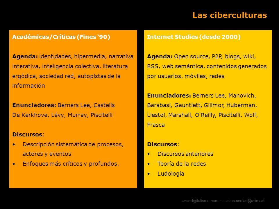 Las ciberculturas Académicas/Críticas (Fines '90)
