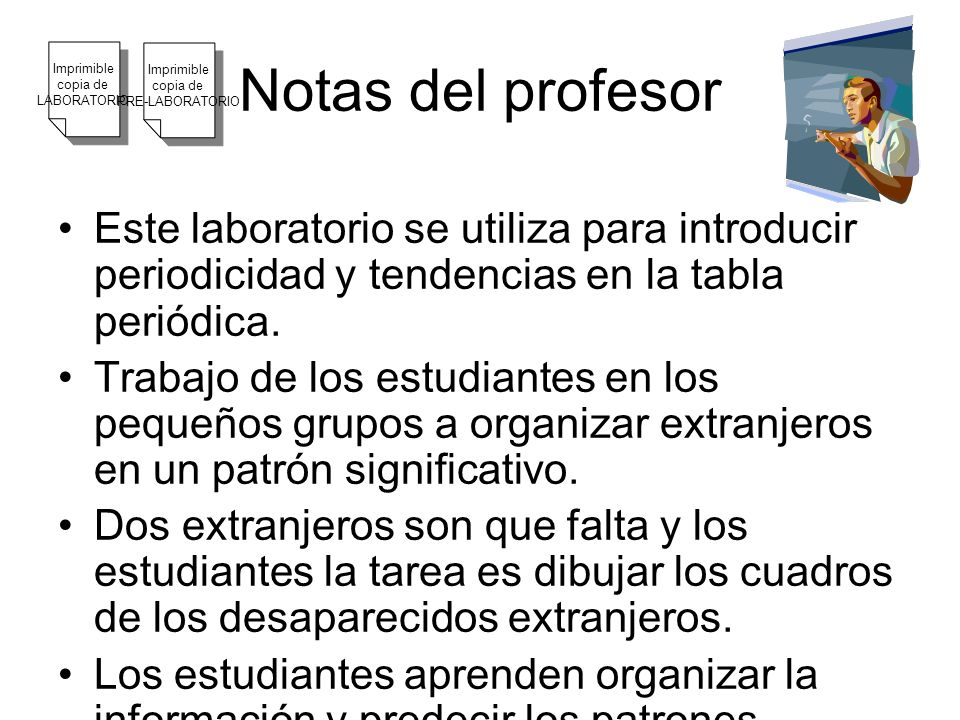 Notas del profesor Imprimible. copia de. LABORATORIO. Imprimible. copia de. PRE-LABORATORIO.