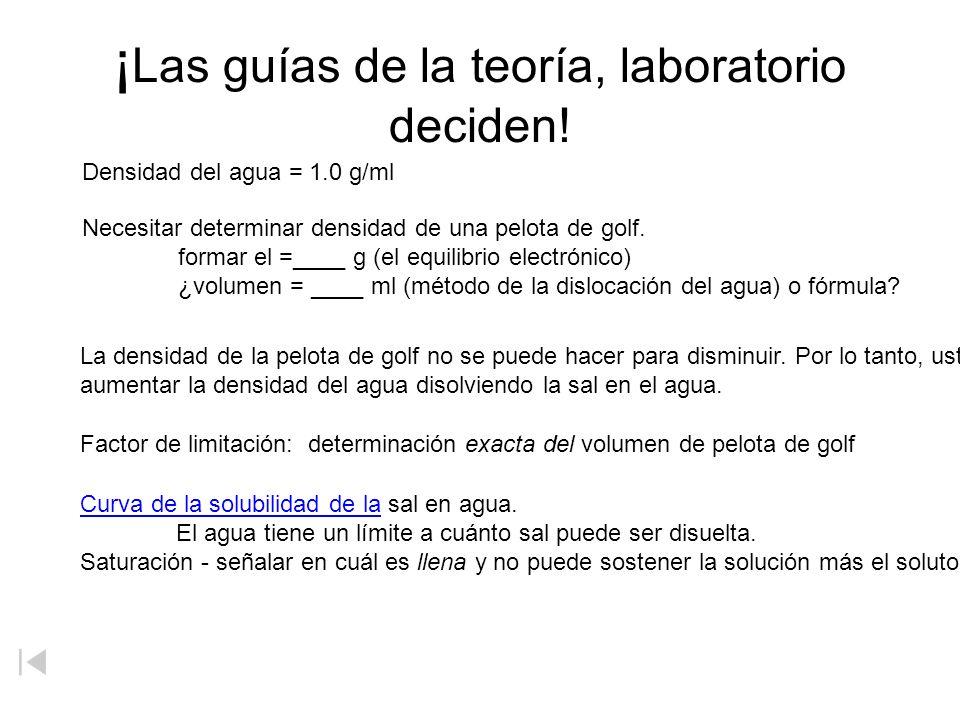 ¡Las guías de la teoría, laboratorio deciden!