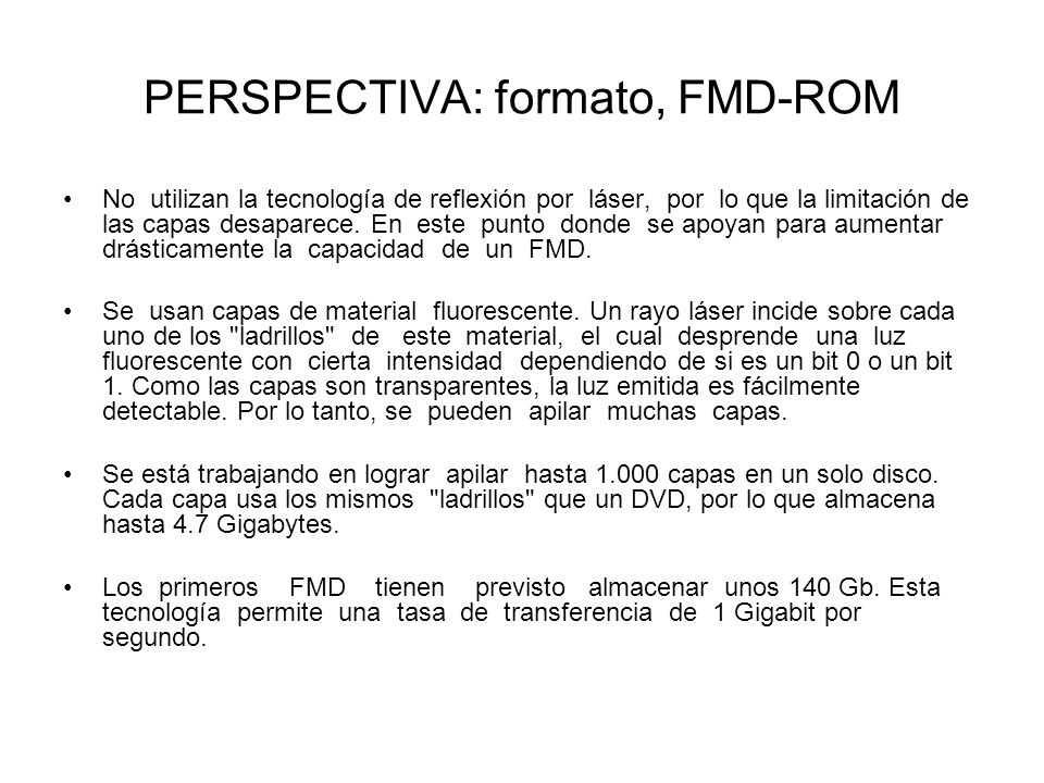 PERSPECTIVA: formato, FMD-ROM