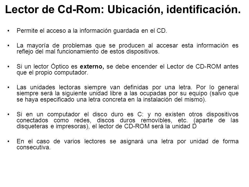 Lector de Cd-Rom: Ubicación, identificación.