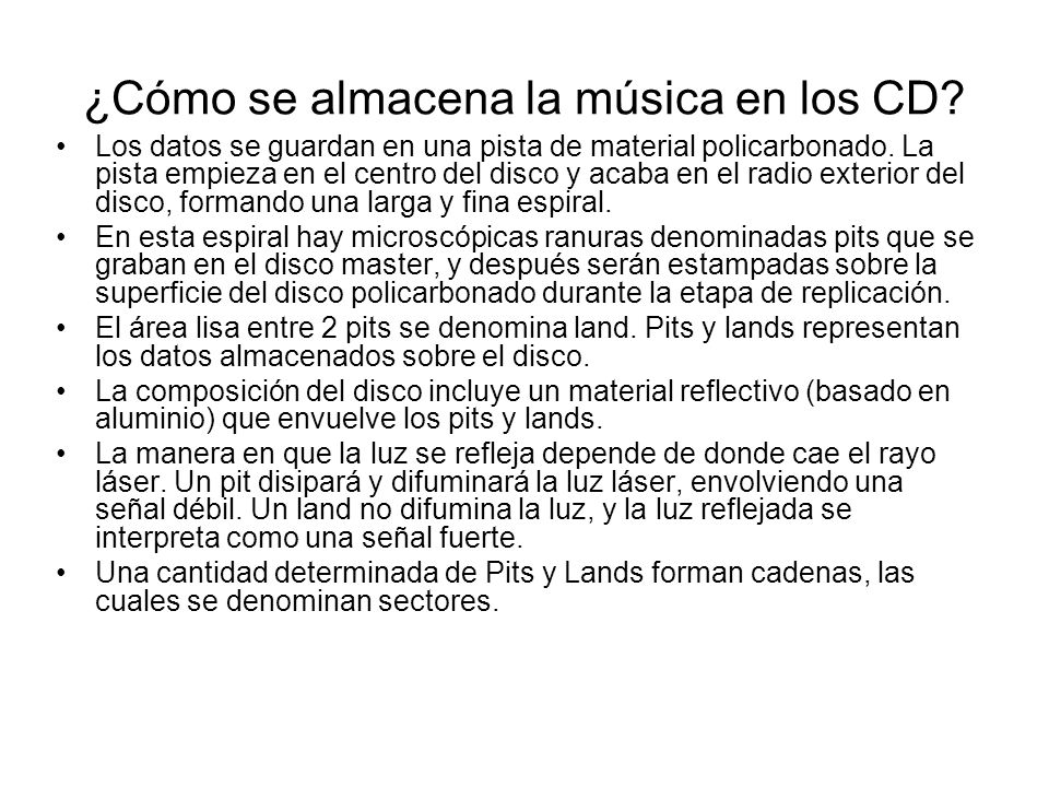 ¿Cómo se almacena la música en los CD