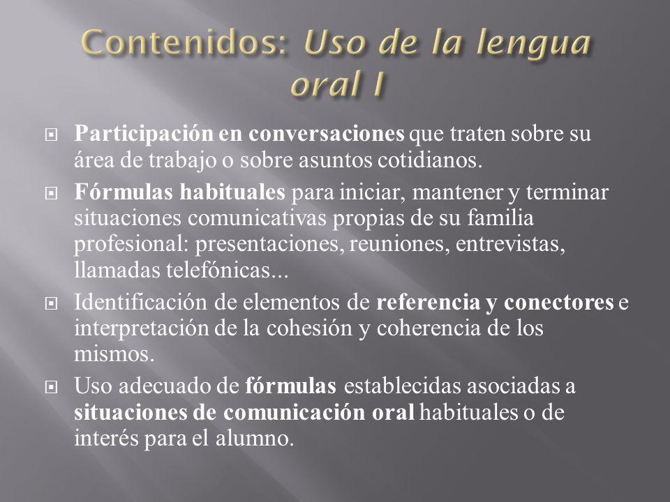 Contenidos: Uso de la lengua oral I