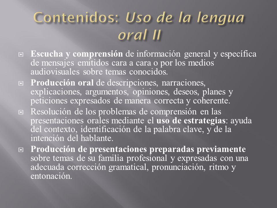 Contenidos: Uso de la lengua oral II