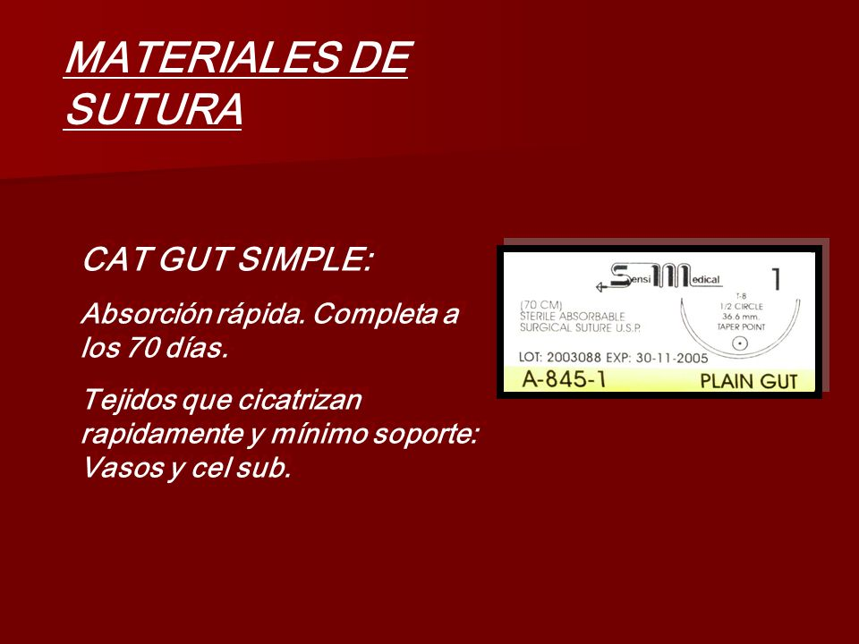 MATERIALES DE SUTURA CAT GUT SIMPLE: