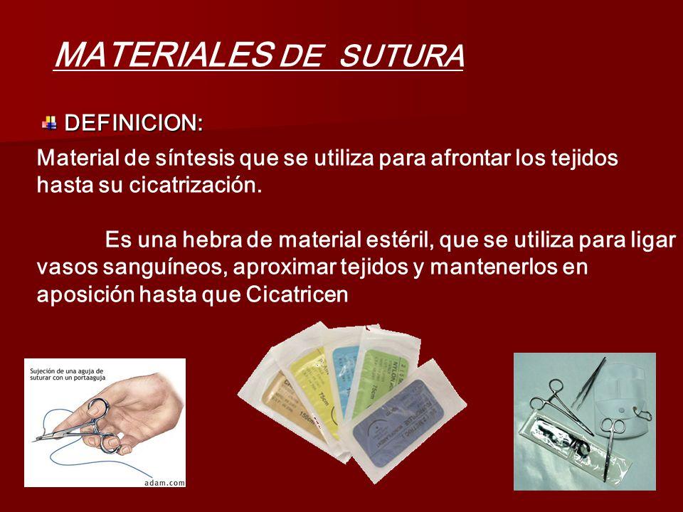 MATERIALES DE SUTURA DEFINICION: