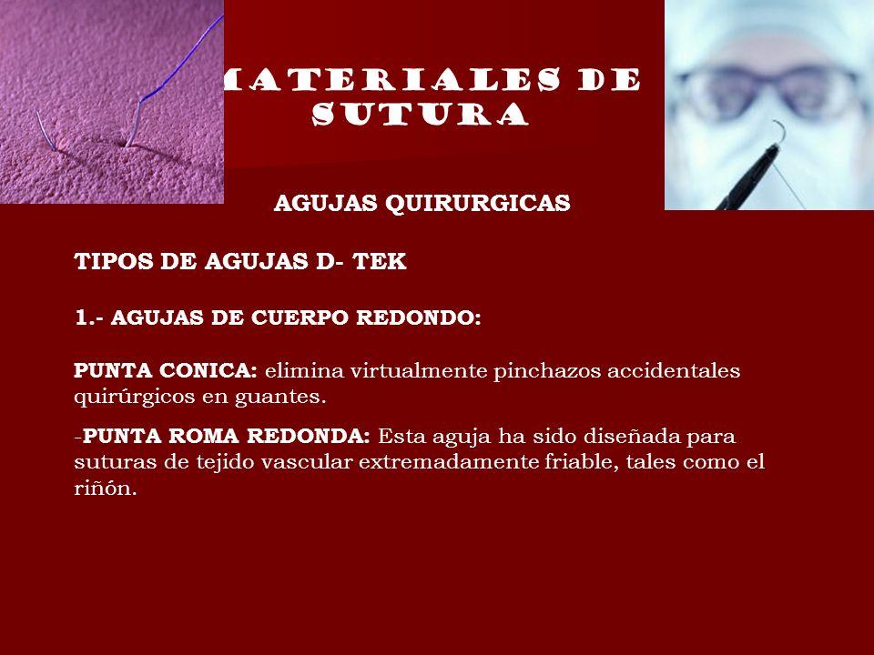 MATERIALES DE SUTURA AGUJAS QUIRURGICAS TIPOS DE AGUJAS D- TEK