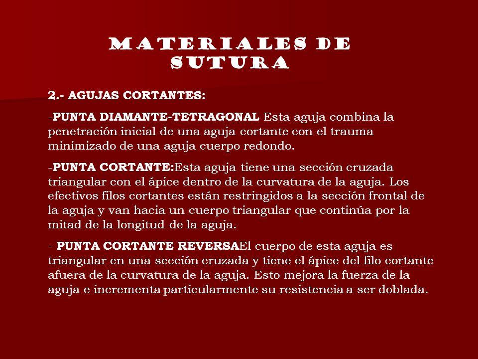 MATERIALES DE SUTURA 2.- AGUJAS CORTANTES: