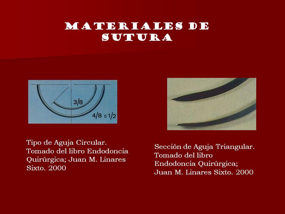 MATERIALES DE SUTURA Tipo de Aguja Circular. Tomado del libro Endodoncia Quirúrgica; Juan M. Linares Sixto. 2000.