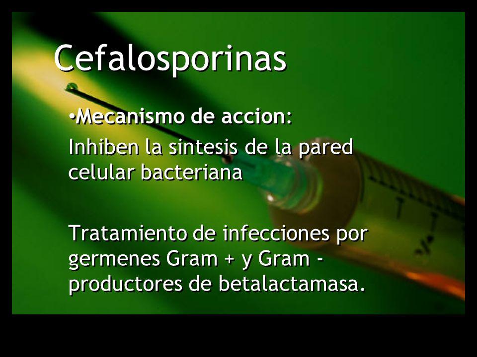 Cefalosporinas Mecanismo de accion: