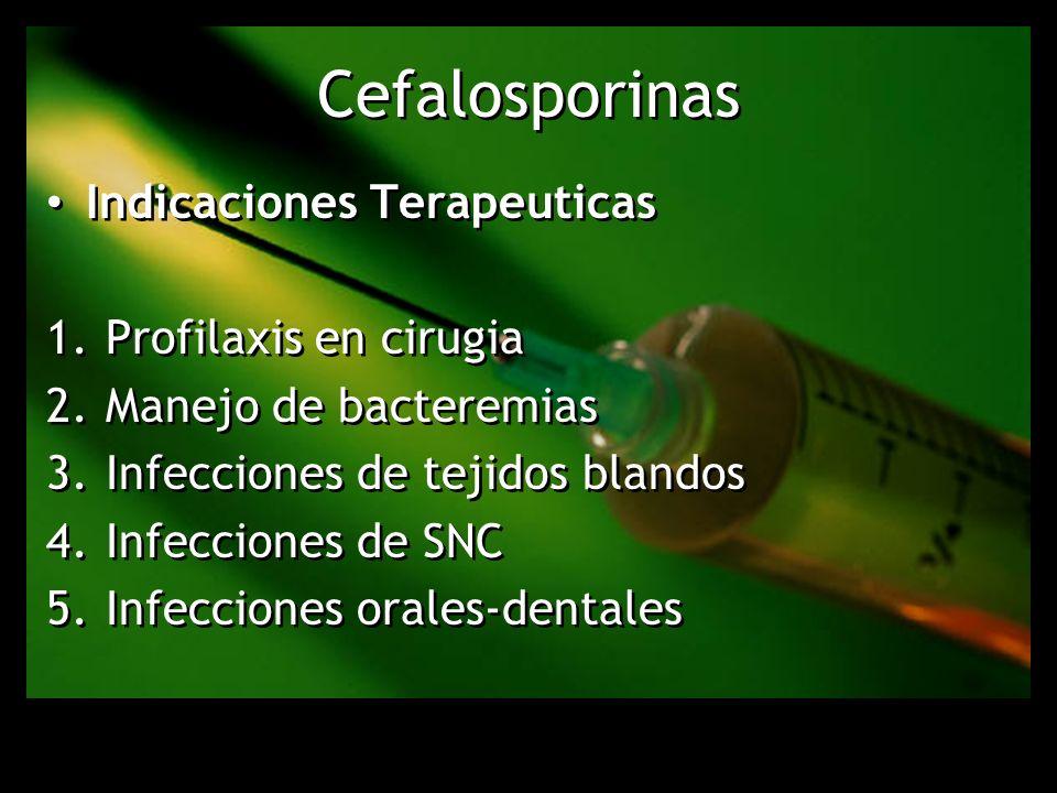 Cefalosporinas Indicaciones Terapeuticas Profilaxis en cirugia