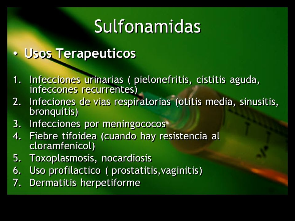 Sulfonamidas Usos Terapeuticos