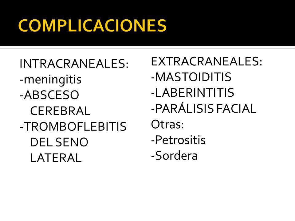 COMPLICACIONES EXTRACRANEALES: -MASTOIDITIS -LABERINTITIS -PARÁLISIS FACIAL Otras: -Petrositis -Sordera