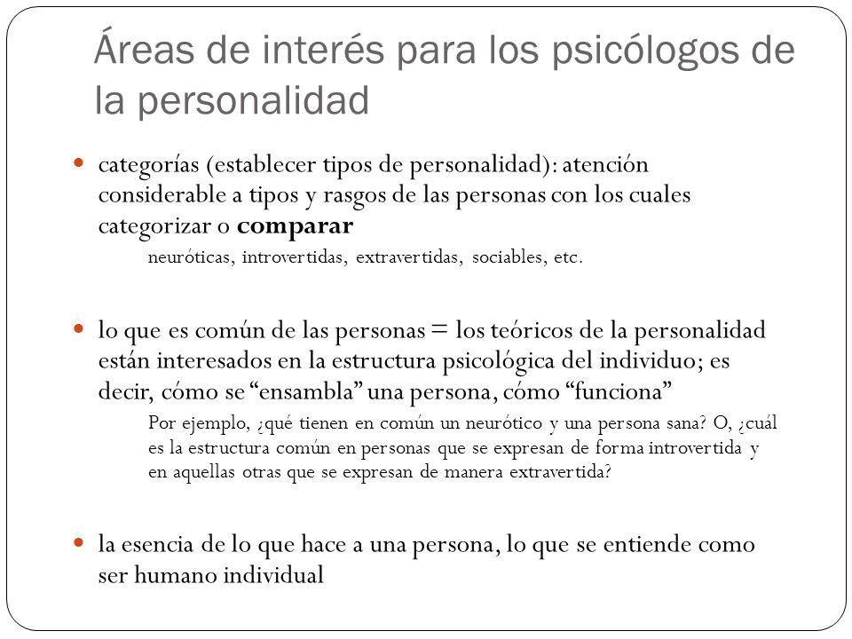 Áreas de interés para los psicólogos de la personalidad