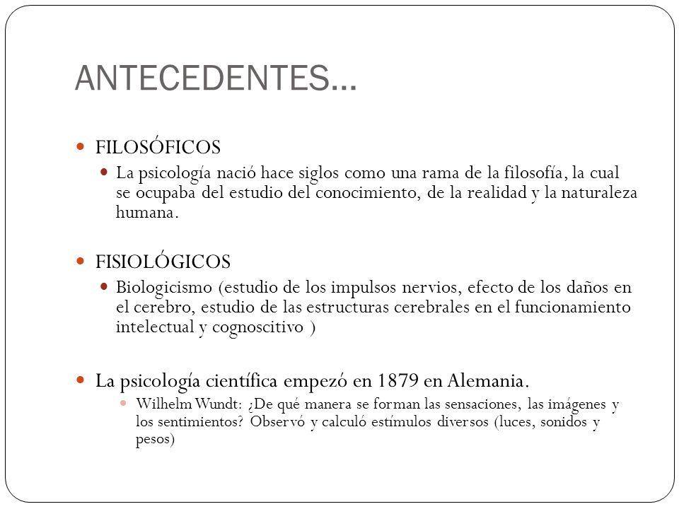 ANTECEDENTES… FILOSÓFICOS FISIOLÓGICOS