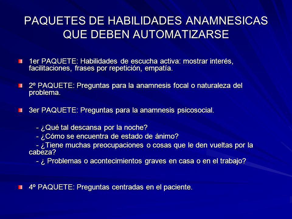 PAQUETES DE HABILIDADES ANAMNESICAS QUE DEBEN AUTOMATIZARSE