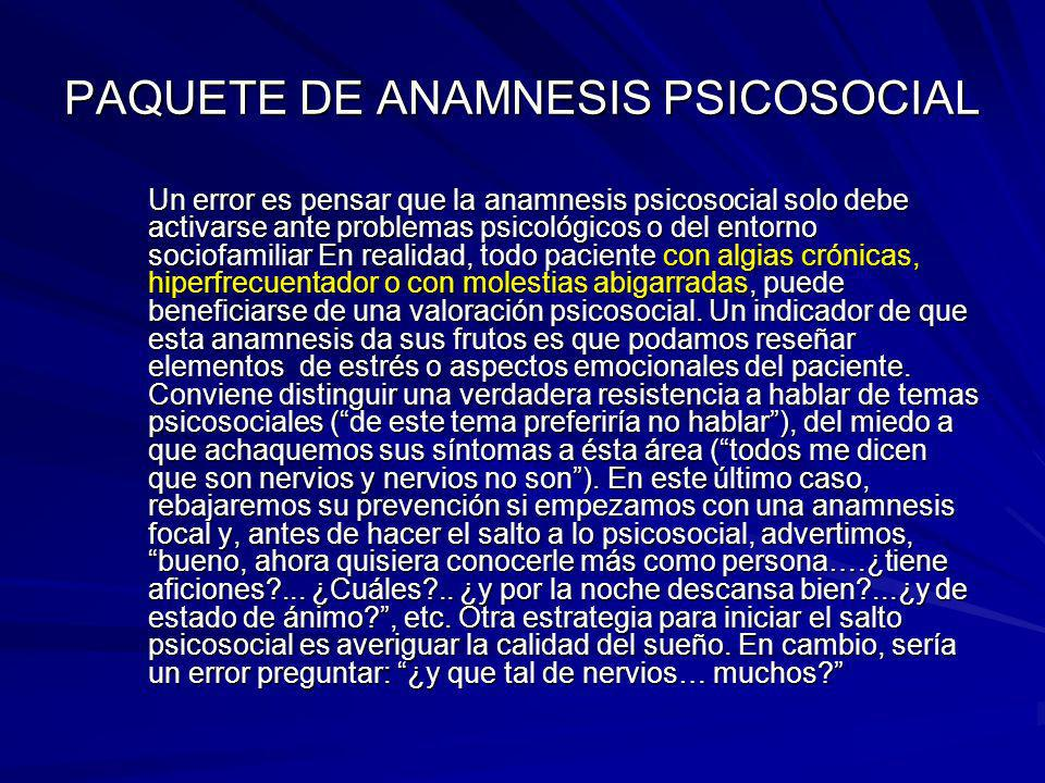 PAQUETE DE ANAMNESIS PSICOSOCIAL