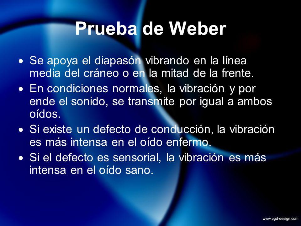 Prueba de WeberSe apoya el diapasón vibrando en la línea media del cráneo o en la mitad de la frente.