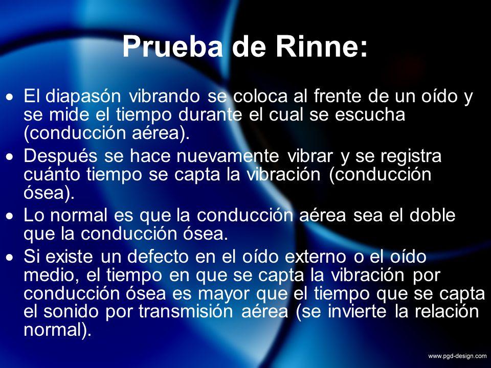 Prueba de Rinne:El diapasón vibrando se coloca al frente de un oído y se mide el tiempo durante el cual se escucha (conducción aérea).