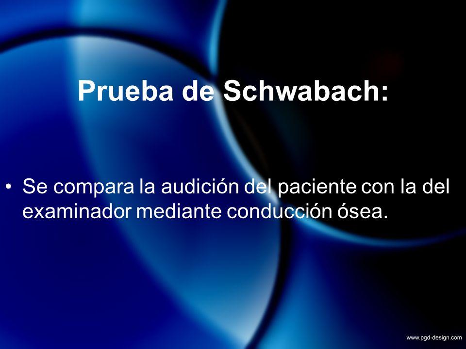 Prueba de Schwabach:Se compara la audición del paciente con la del examinador mediante conducción ósea.