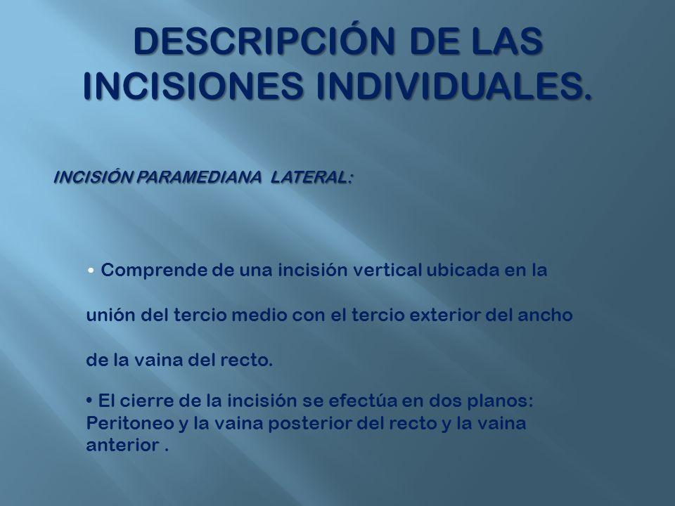 DESCRIPCIÓN DE LAS INCISIONES INDIVIDUALES.