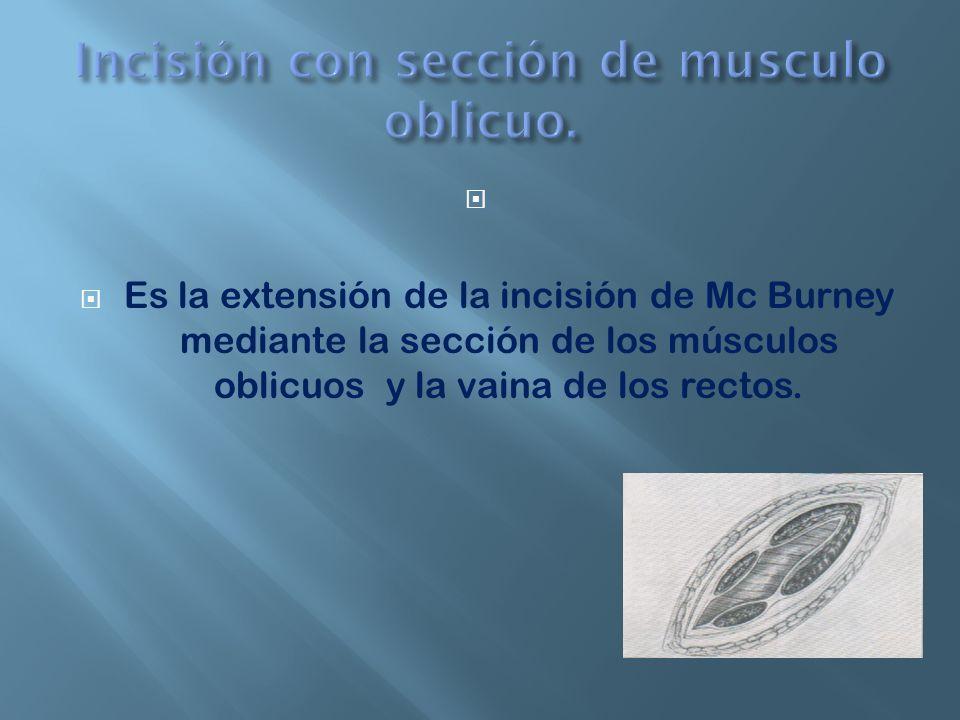 Incisión con sección de musculo oblicuo.