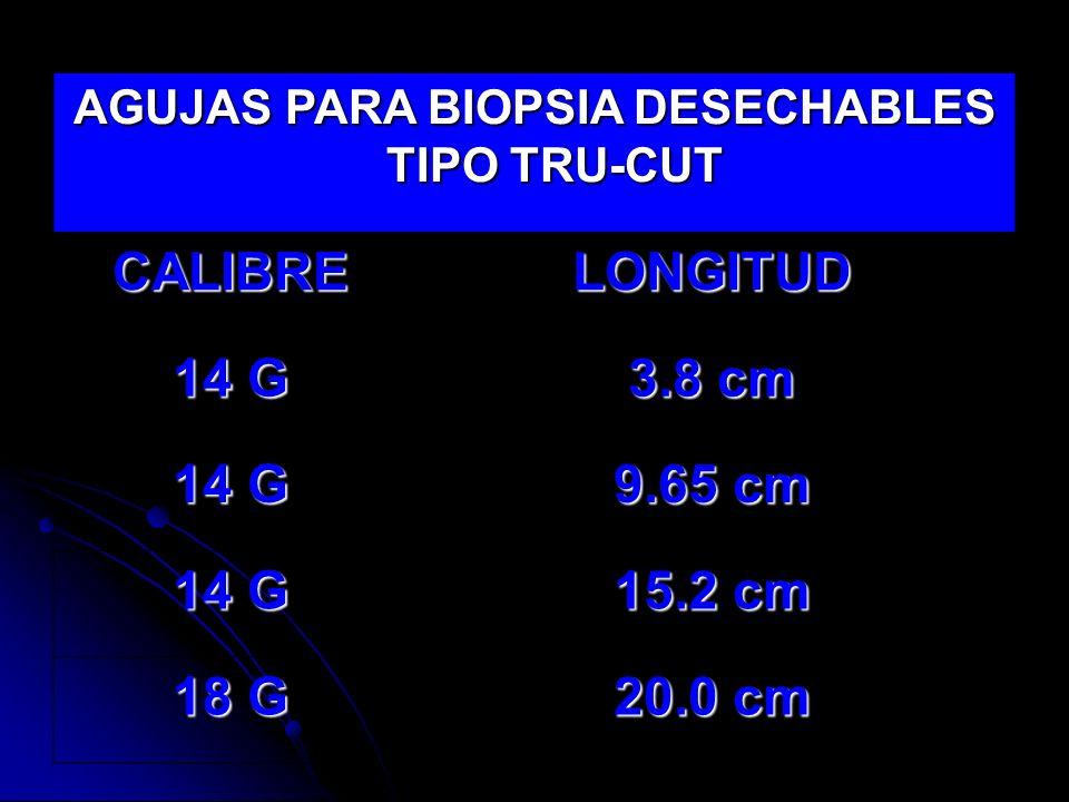 AGUJAS PARA BIOPSIA DESECHABLES TIPO TRU-CUT