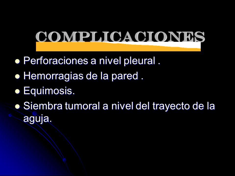 COMPLICACIONES Perforaciones a nivel pleural .