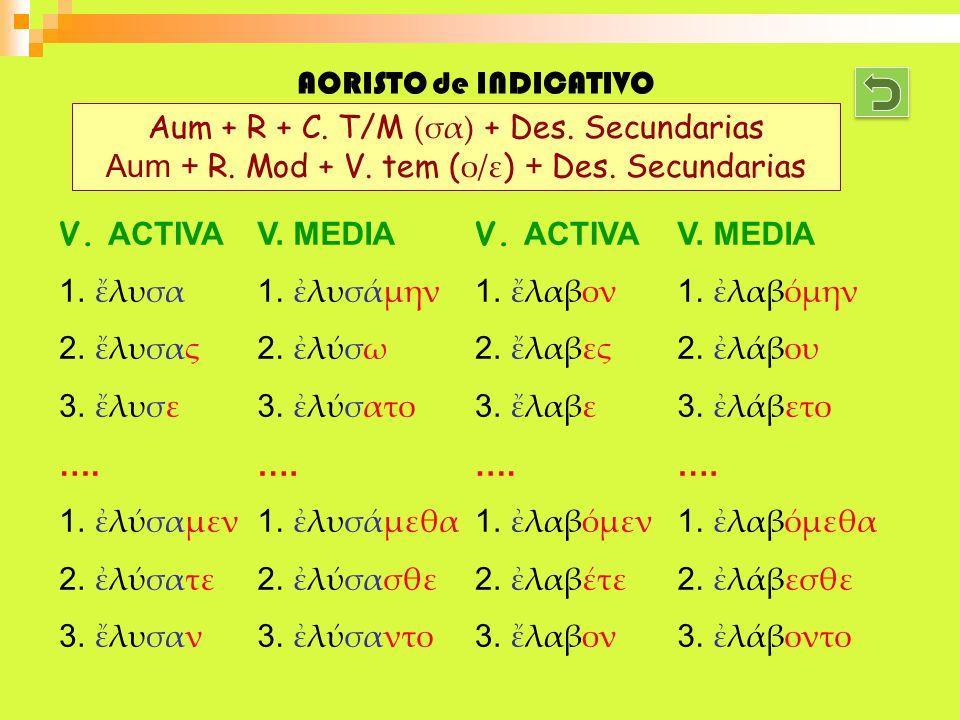 Aum + R + C. T/M (σα) + Des. Secundarias