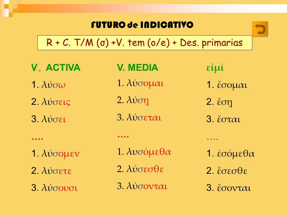 R + C. T/M (σ) +V. tem (o/e) + Des. primarias