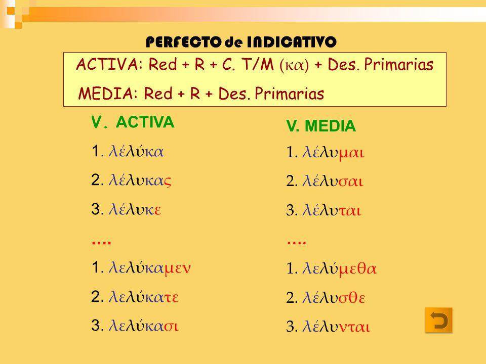 PERFECTO de INDICATIVO ACTIVA: Red + R + C. T/M (κα) + Des. Primarias