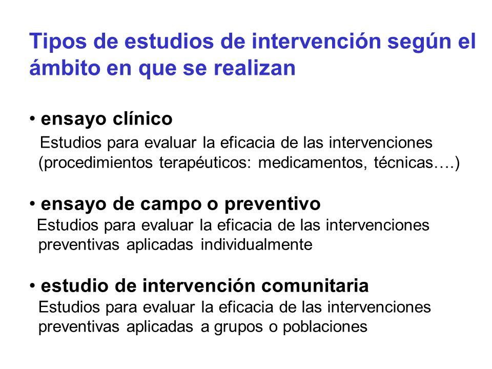 Tipos de estudios de intervención según el ámbito en que se realizan