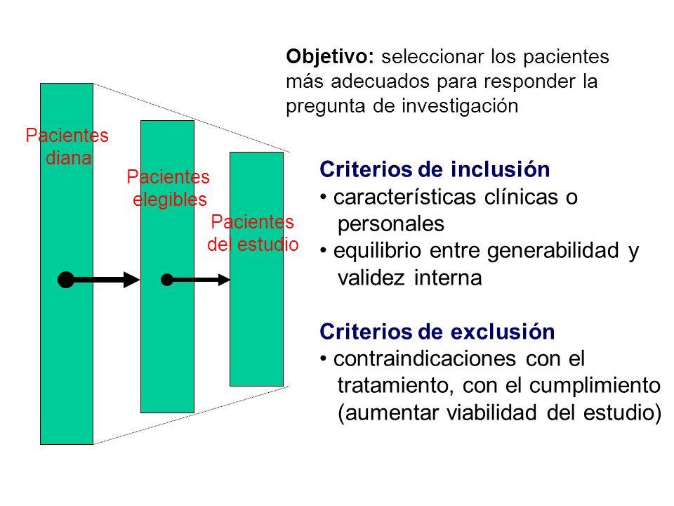 Criterios de inclusión características clínicas o personales