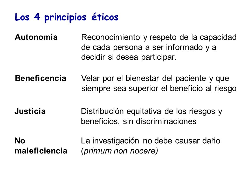 Los 4 principios éticos Autonomía