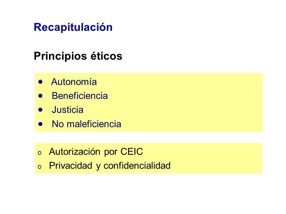 Recapitulación Principios éticos Autonomía Beneficiencia Justicia