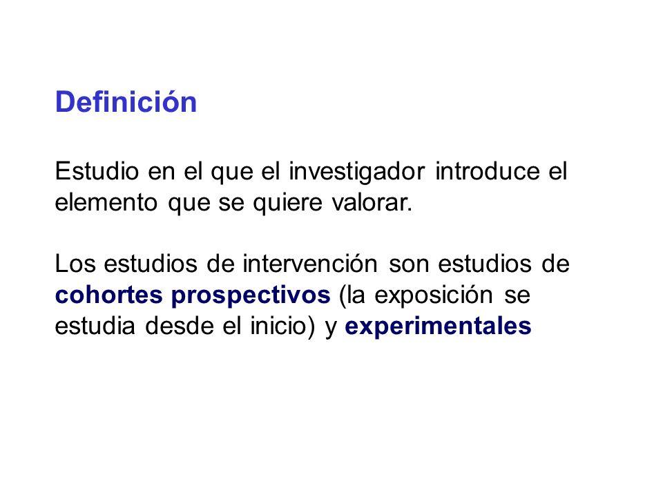 Definición Estudio en el que el investigador introduce el elemento que se quiere valorar.