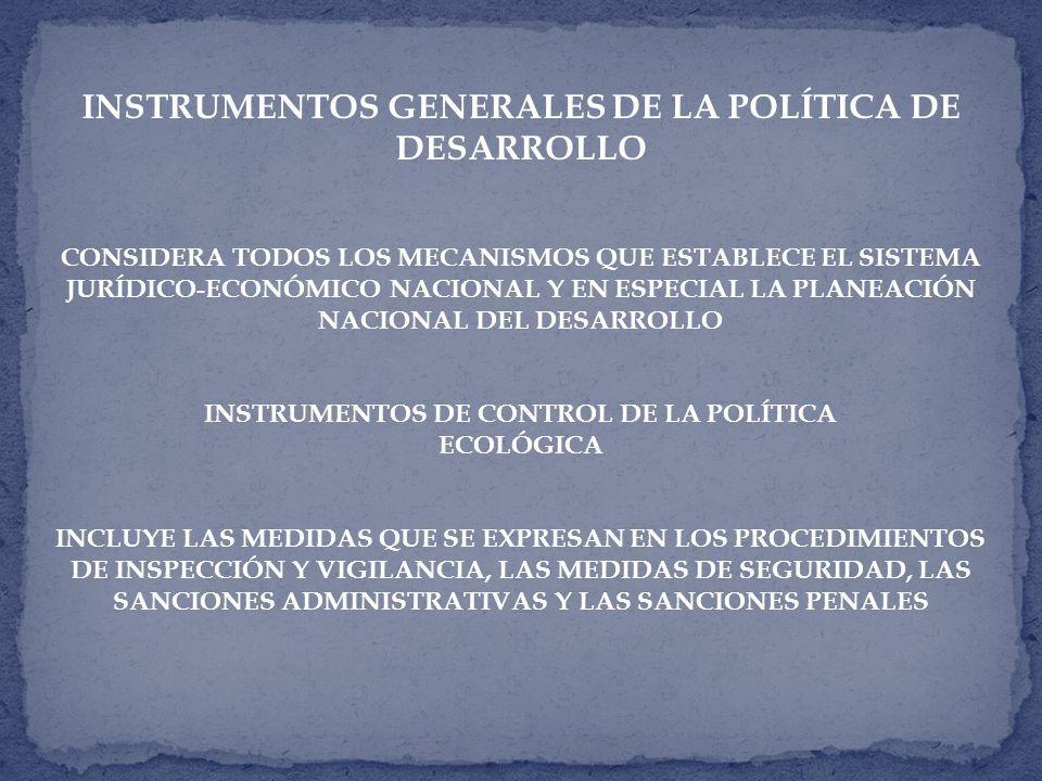 INSTRUMENTOS GENERALES DE LA POLÍTICA DE DESARROLLO