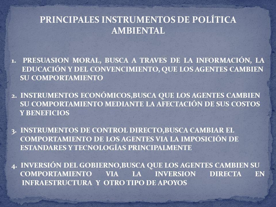 PRINCIPALES INSTRUMENTOS DE POLÍTICA