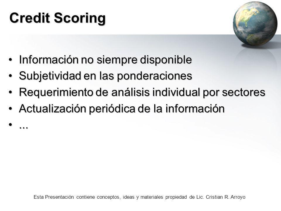 Credit Scoring Información no siempre disponible