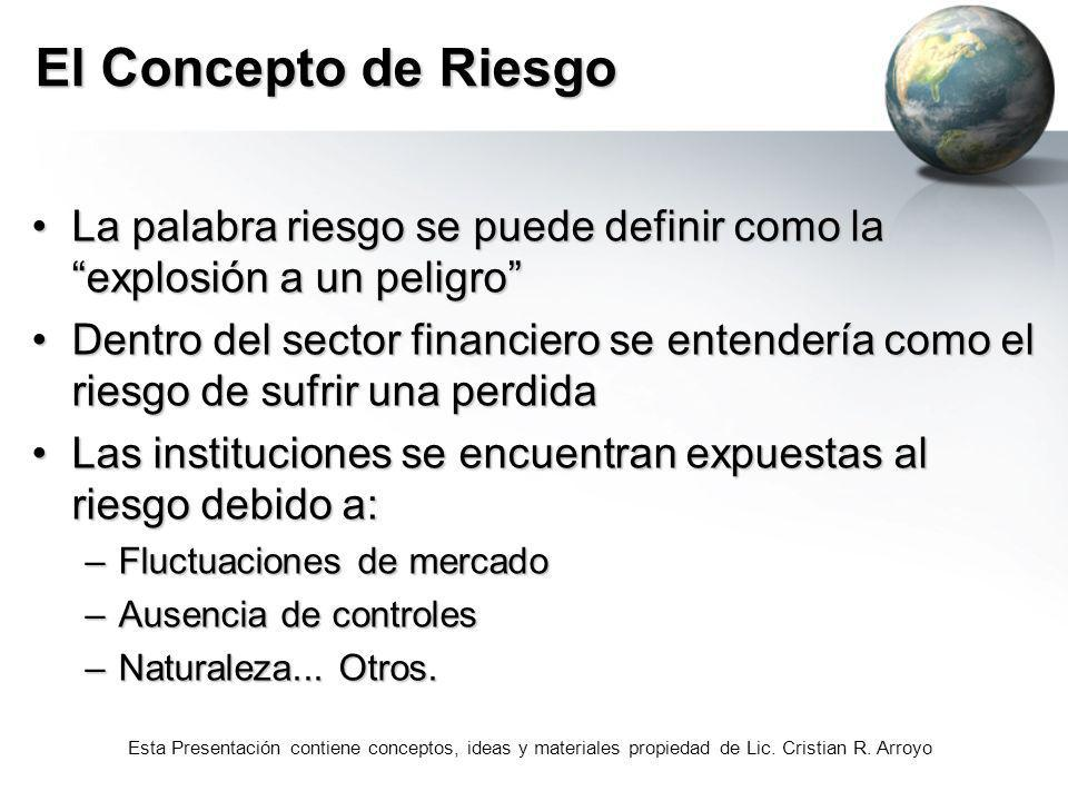 El Concepto de RiesgoLa palabra riesgo se puede definir como la explosión a un peligro