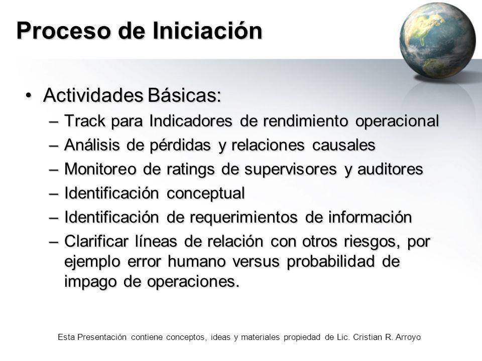 Proceso de Iniciación Actividades Básicas:
