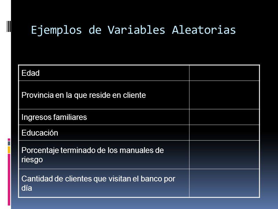 Ejemplos de Variables Aleatorias